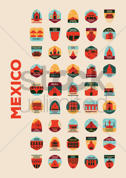 collection of mexican landmarks vector graphic