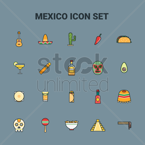 collection of mexico icons vector graphic