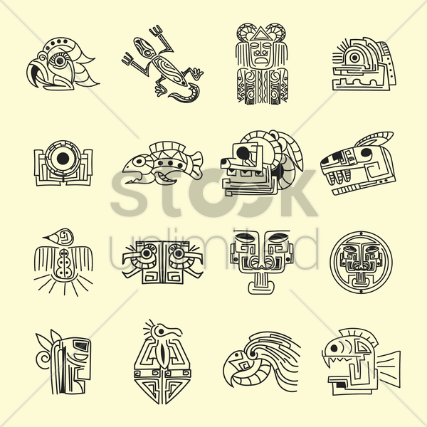collection of mexico tribal designs vector graphic