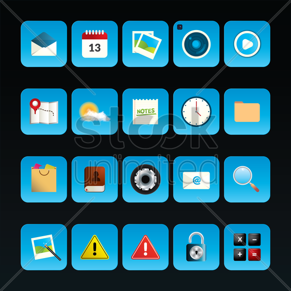 collection of mobile app icons vector graphic