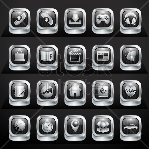 collection of mobile application buttons vector graphic