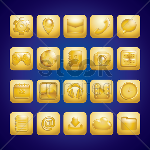 collection of mobile application icons vector graphic