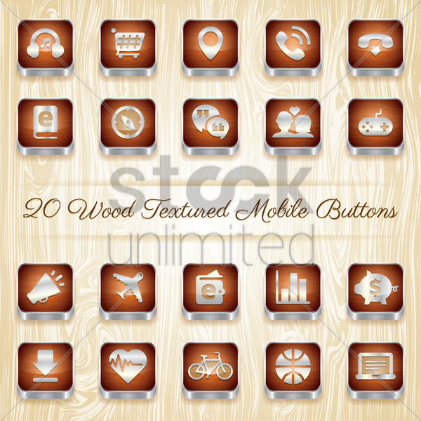 collection of mobile buttons vector graphic
