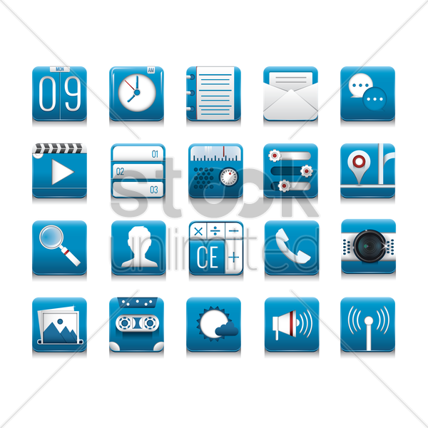 collection of mobile icons vector graphic