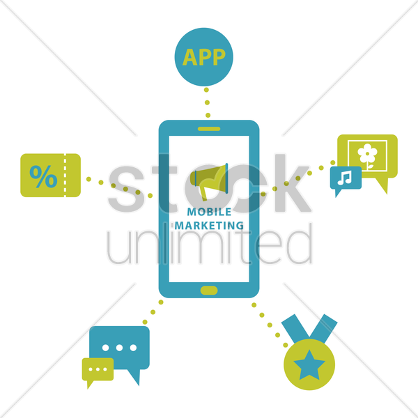 collection of mobile marketing icons vector graphic