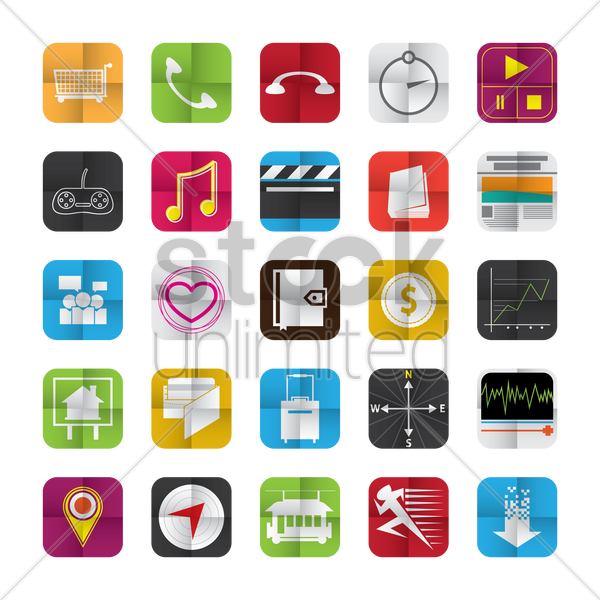 collection of mobile user interface icons vector graphic