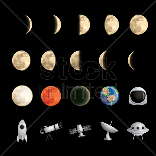collection of moons and satellites vector graphic