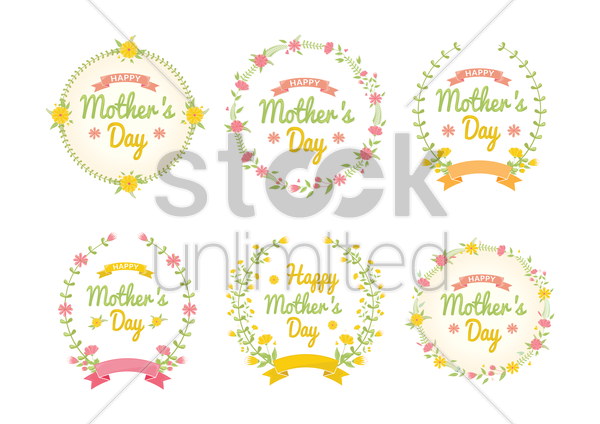 collection of mothers day floral designs vector graphic