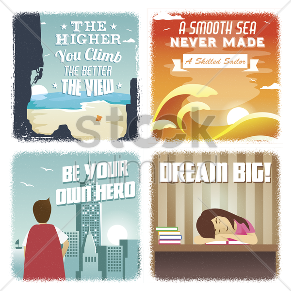 collection of motivational quote vector graphic