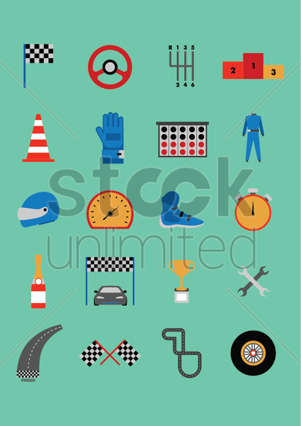 collection of motor race equipment vector graphic