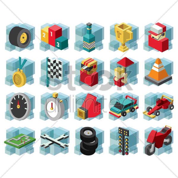 Free collection of motor race equipment vector graphic