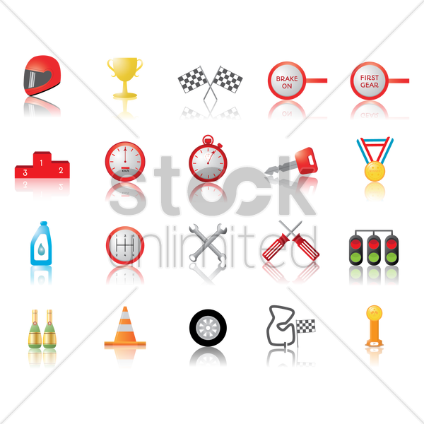 collection of motor race icons vector graphic