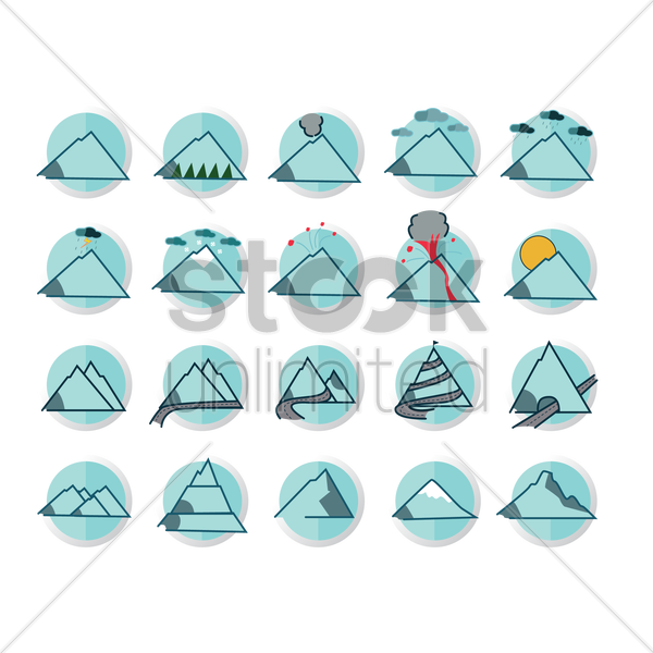 collection of mountains vector graphic