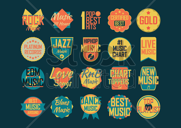 collection of music designs vector graphic