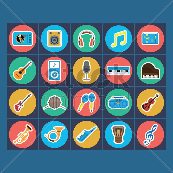 collection of music icon vector graphic