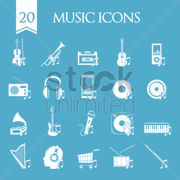 collection of music icons vector graphic