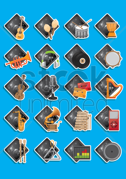 Free collection of music instruments vector graphic