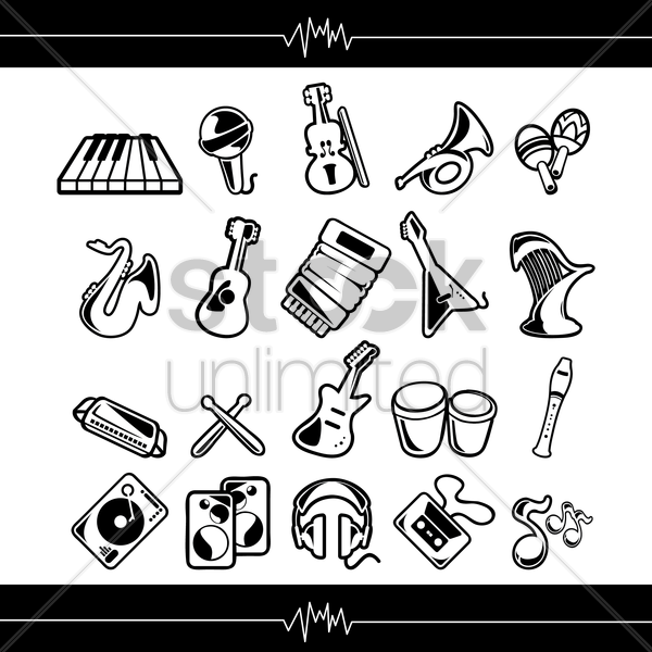 collection of musical instruments vector graphic