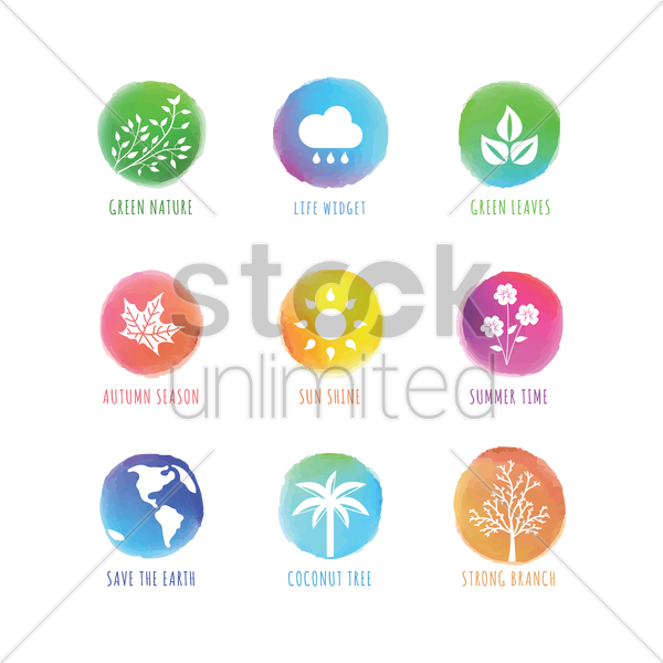 collection of nature icons vector graphic