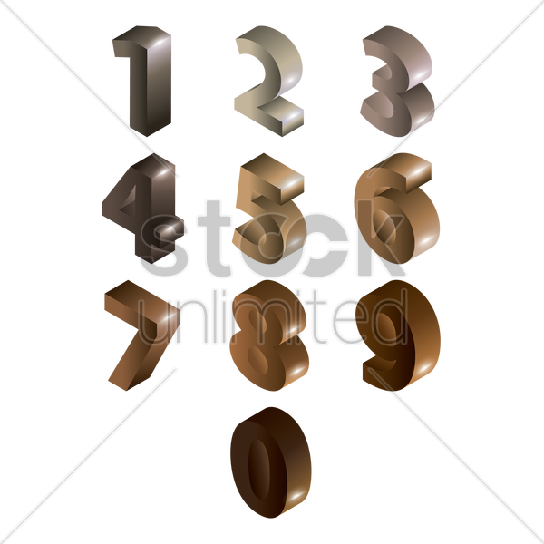 collection of numbers vector graphic