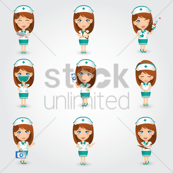 collection of nurse figures vector graphic