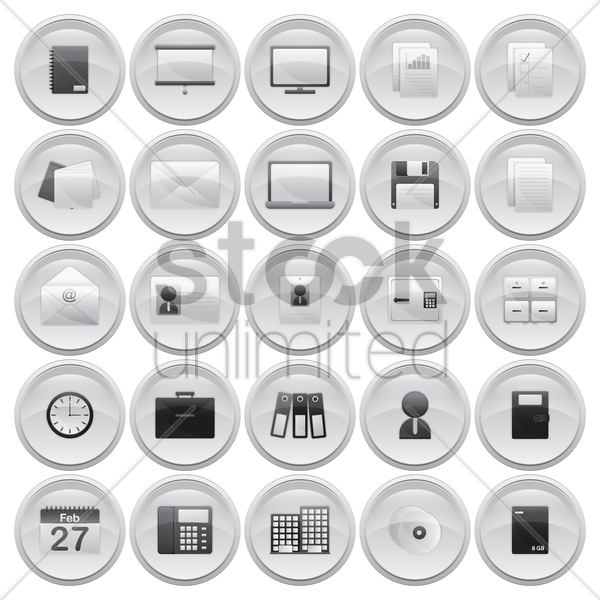 collection of office icons vector graphic