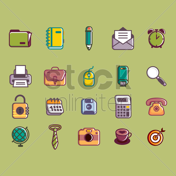 collection of office related objects vector graphic