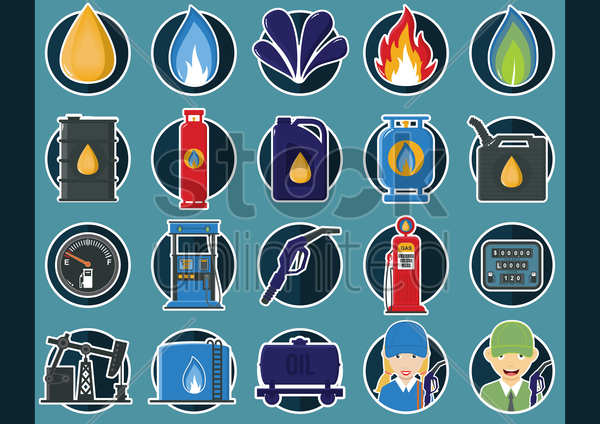 collection of oil and gas icons vector graphic