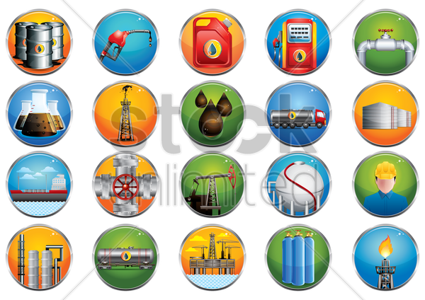 collection of oil and gas related icons vector graphic