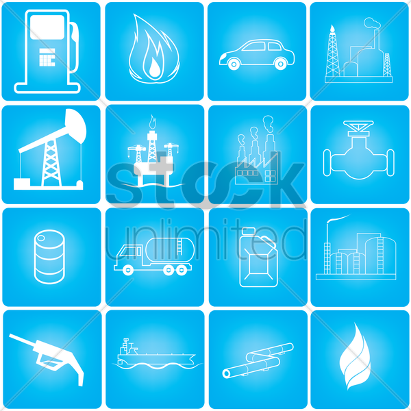 collection of oil and gas related objects vector graphic