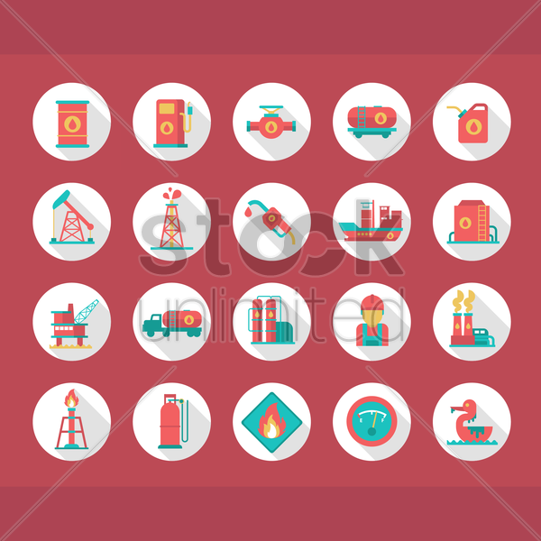 collection of oil industry items vector graphic