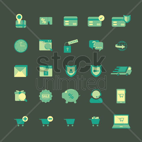 collection of online shopping icons vector graphic