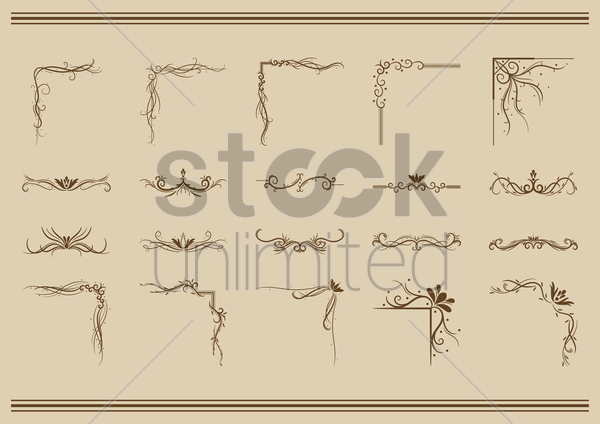 collection of ornamental dividers and corner designs vector graphic