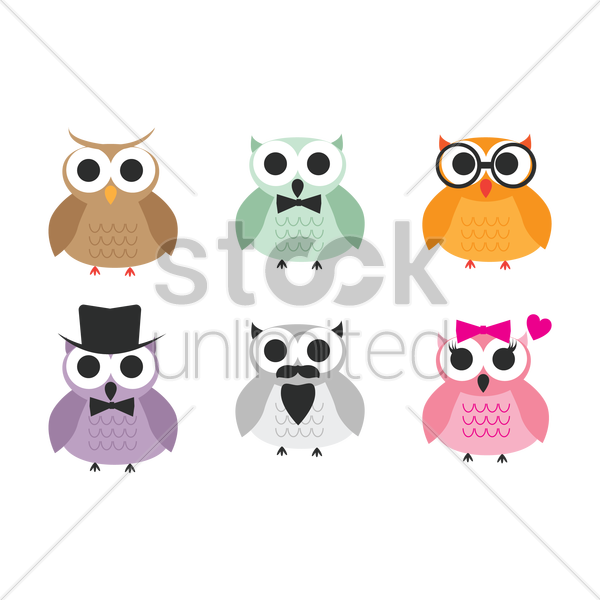 collection of owls vector graphic
