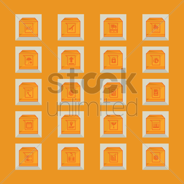 collection of package symbols vector graphic