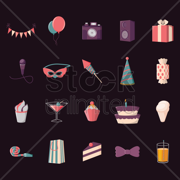 collection of party icons vector graphic