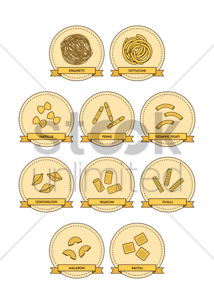 collection of pasta vector graphic