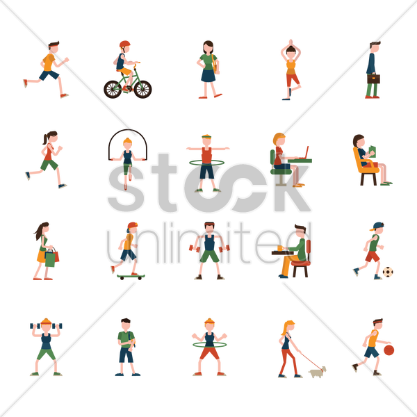 collection of people and activities vector graphic