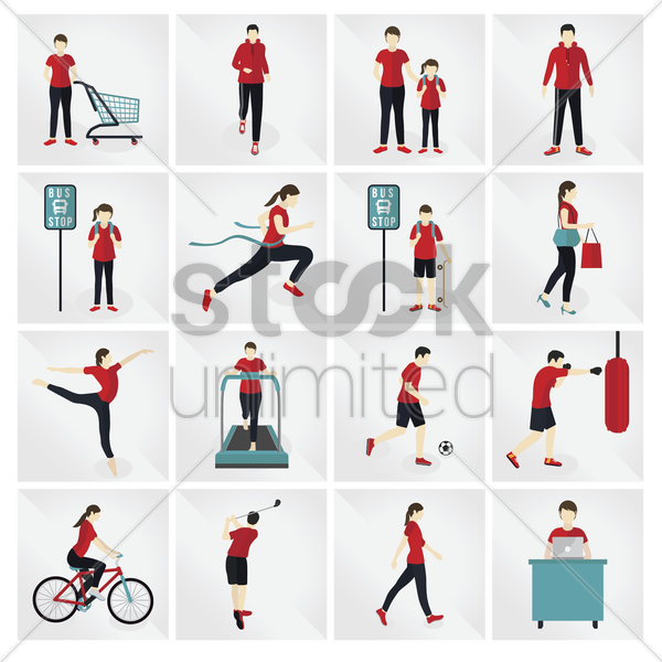 Free collection of people and activities vector graphic
