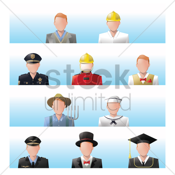 collection of people and occupation vector graphic