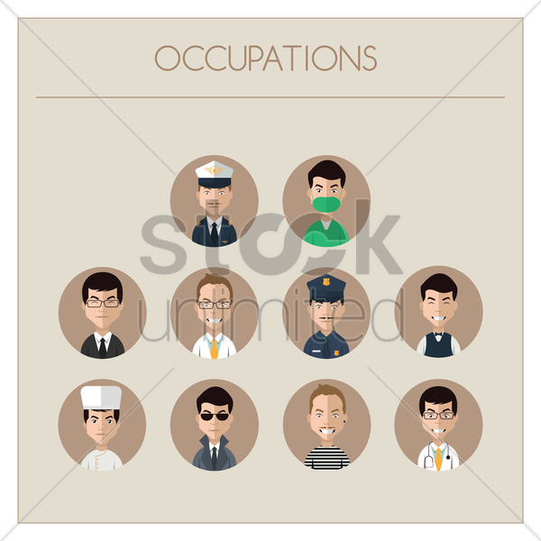 collection of people and occupations vector graphic