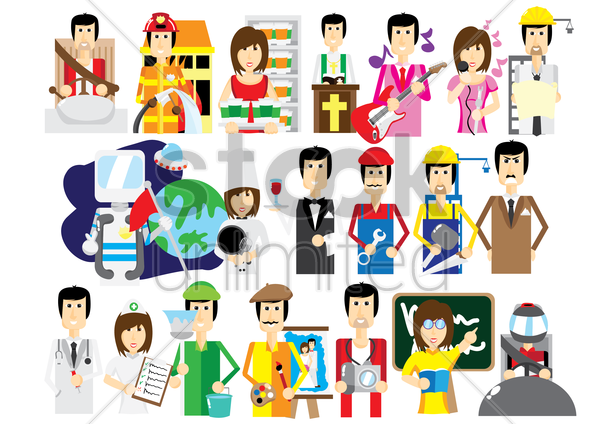 collection of people in different professions vector graphic