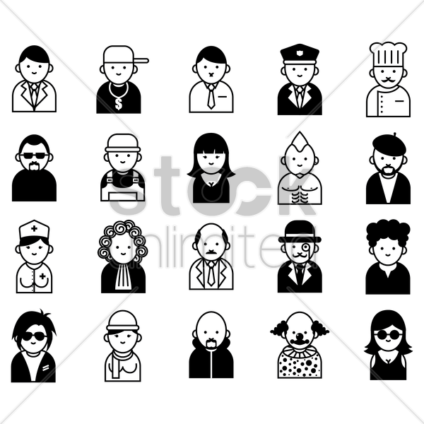 collection of people in various professions vector graphic