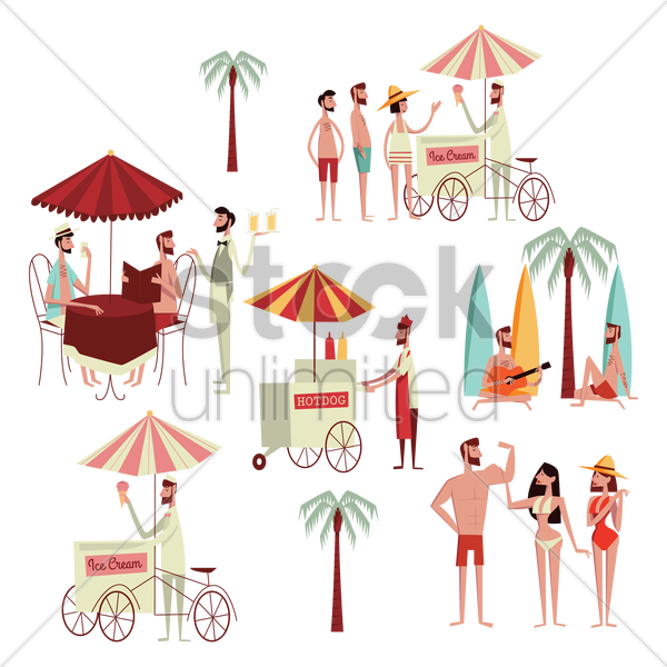 collection of people's activities at beach vector graphic