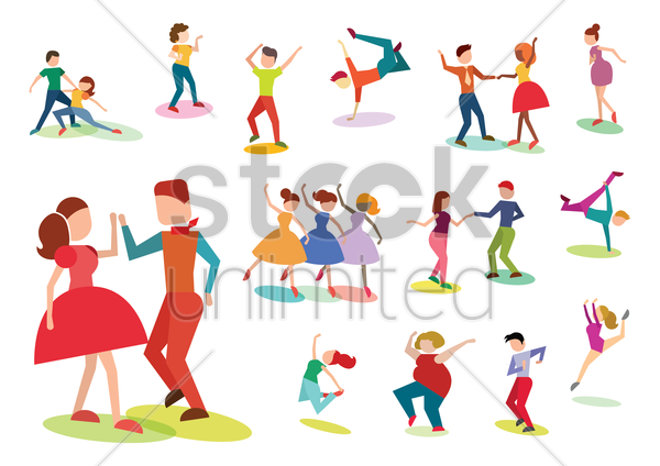 collection of people striking dance poses vector graphic