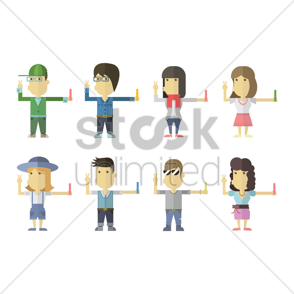 collection of people taking a selfie vector graphic