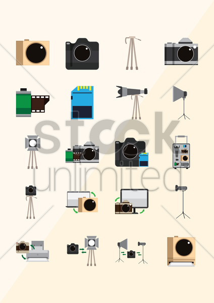 collection of photography icons vector graphic