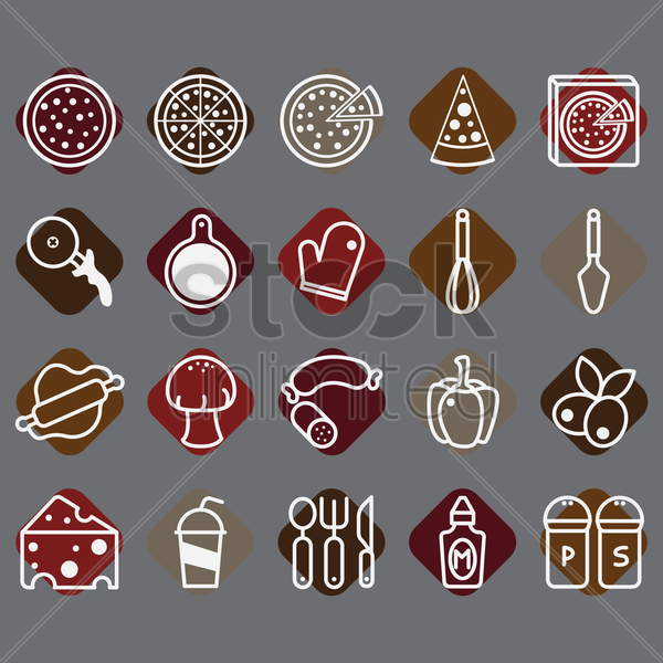 collection of pizza icons vector graphic