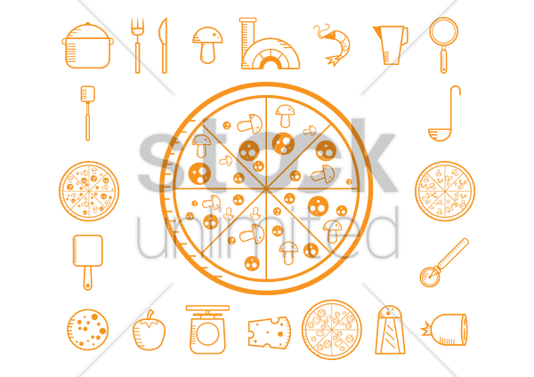 collection of pizza making icons vector graphic