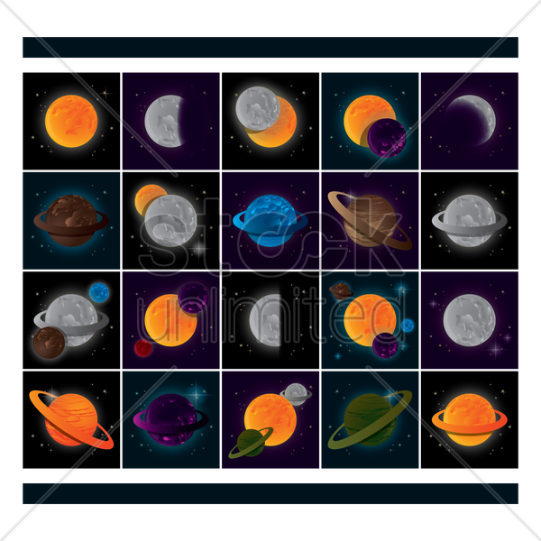 collection of planets vector graphic